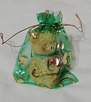Мешочки из органзы для упаковки подарков и сувениров. Цвет Зеленый 10х12см.