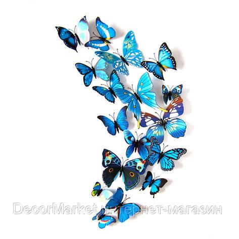 Набор бабочек 3D на магните, СИНИЕ цветные, фото 2