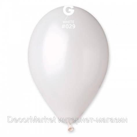 Шарик воздушный 12 дюймов (30 см) металлик БЕЛЫЙ, фото 2