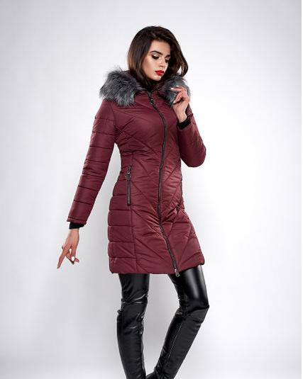 Зимняя женская молодежная куртка, цвет бордо. Размеры М,  XXL.