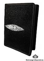 Мужской портмоне из кожи ската, черного цвета  Mosart Custini 2830