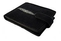 Мужской портмоне из кожи ската, черного цвета Mosart Custini 2868