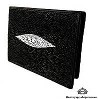 Мужской портмоне из кожи ската, черного цвета Mosart Custini 2870