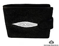 Мужской портмоне из кожи ската, черного цвета Mosart Custini 2871