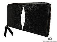 Женский (Мужской) кошелек-клатч из кожи ската, черного цвета Mosart Custini 2880
