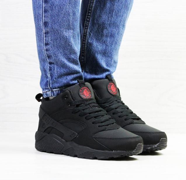 a1f02f56 Женские кроссовки Nike Huarache, зимние, черные, кожа нубук, Найк 2018 -  SAKURA