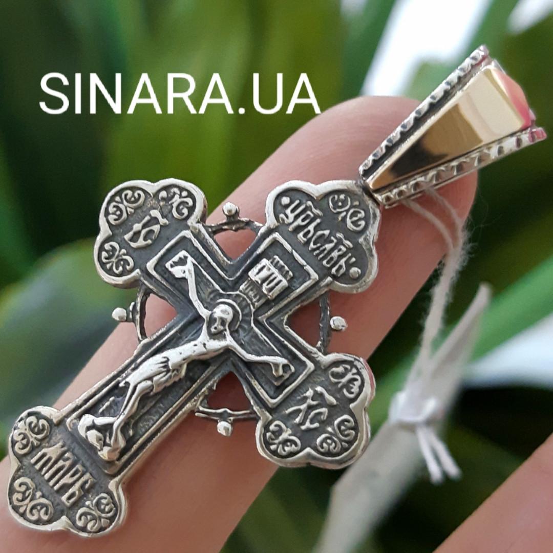 Срібний Хрестик з золотом 375 проби і чорнінням - Хрестик срібло з золотом