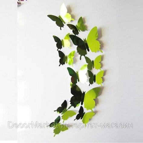 Набор бабочек 3D на скотче, ЗЕЛЕНЫЕ зеркальные, фото 2