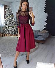 Платье миди с пышной юбкой и сеткой в горошек, фото 3
