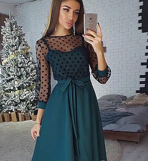 Платье миди с пышной юбкой и сеткой в горошек, фото 2