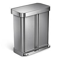 Сборщик отходов Simplehuman 58 litre dual compartment pedal bin with liner pocket