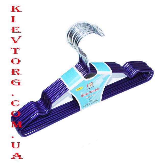 Детские металлические плечики в силиконовом покрытии, длина 30 см Вешалки цвета фиолетовый металлик