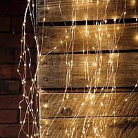 """Гирлянда """"Конский хвост"""" 10 линий по 1,6 метра, 16 диодов/ нить, тёплый белый, постоянное свечение"""