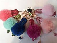 Меховой брелок Фламинго