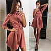 Платье из замши модное на кнопках и с поясом разные цвета Smld2778