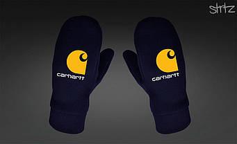 Теплые варежки Carhartt синего цвета (люкс копия)