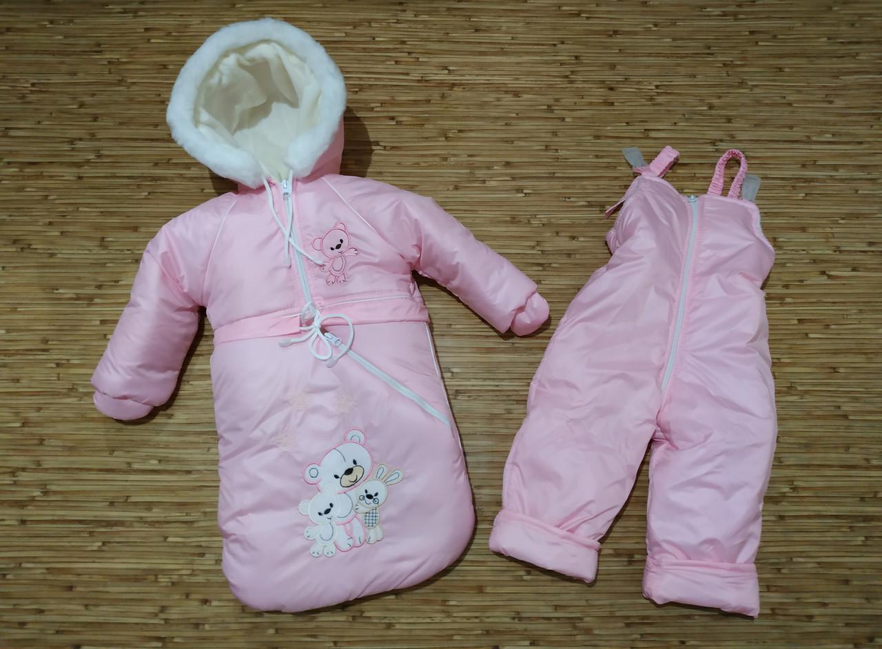 Детский зимний комбинезон-тройка на овчине МИШКИ.