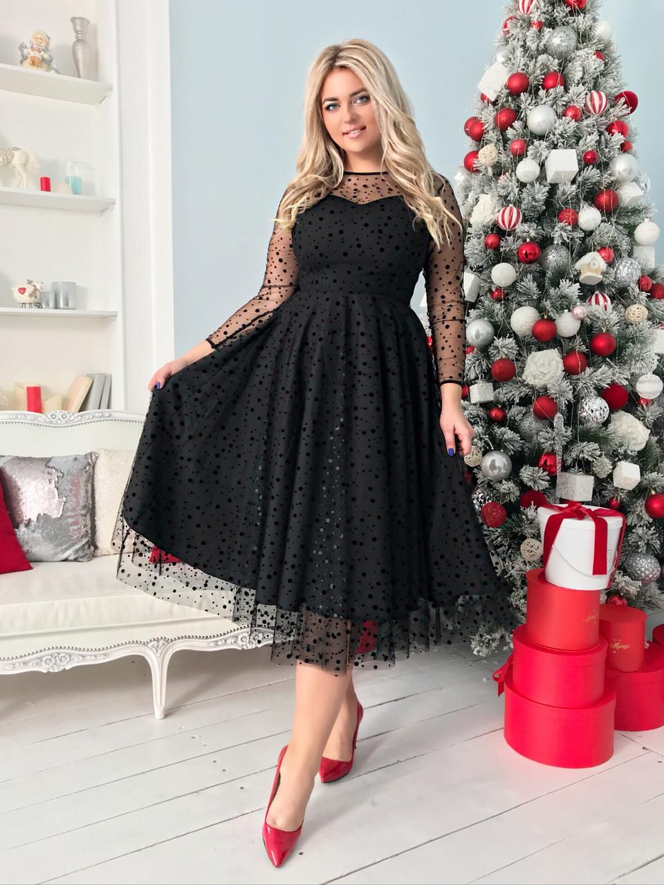 Нарядное двухслойное платье длины миди