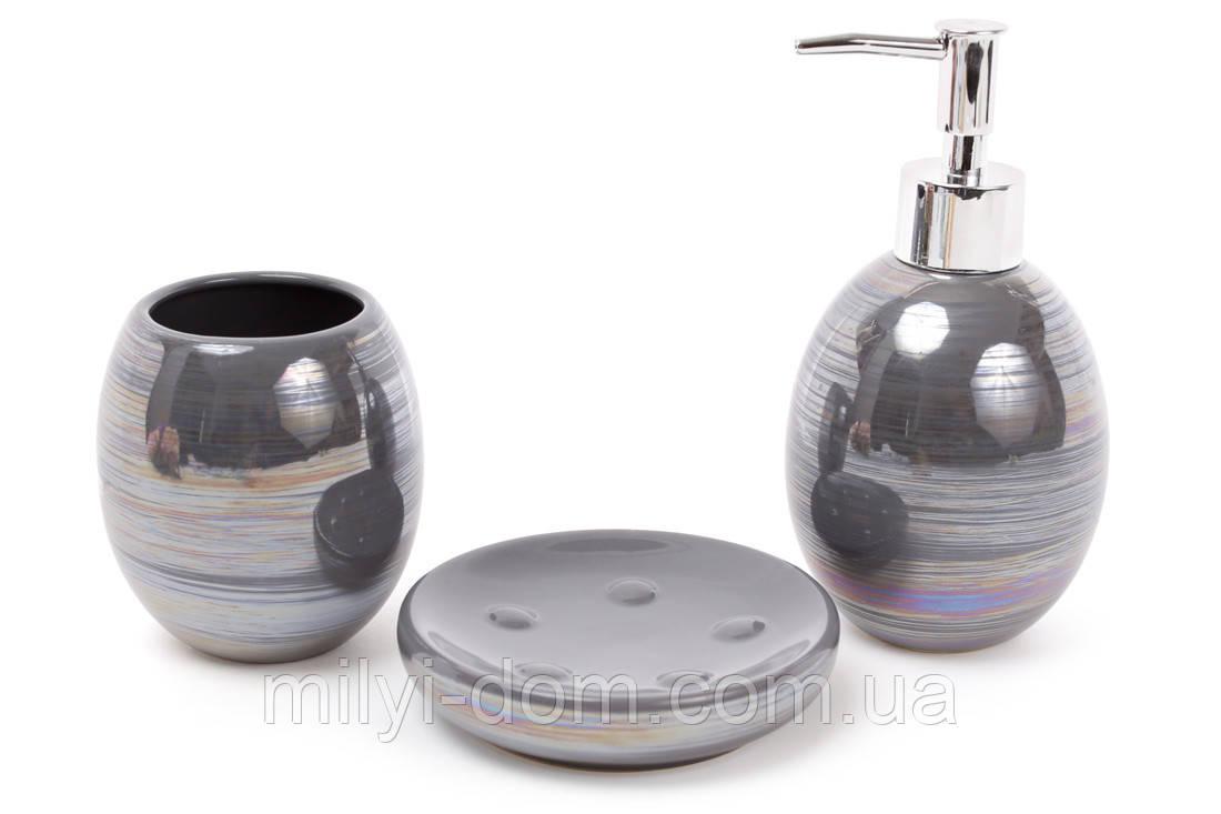 """Набор аксессуаров для ванной """"Серый перламутр"""", 3 ед."""