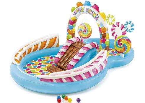 """Детский игровой надувной центр """" Карамель """" с шариками, фонтаном  и горкой ."""