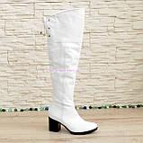 Ботфорты зимние кожаные на каблуке. Белый цвет., фото 2