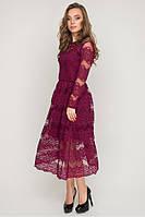 Платье гипюровое №17-93 р. S M марсал