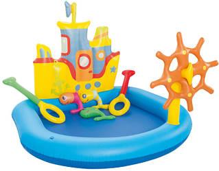"""Детский надувной центр Bestway """"Кораблик"""" с надувными кольцами."""