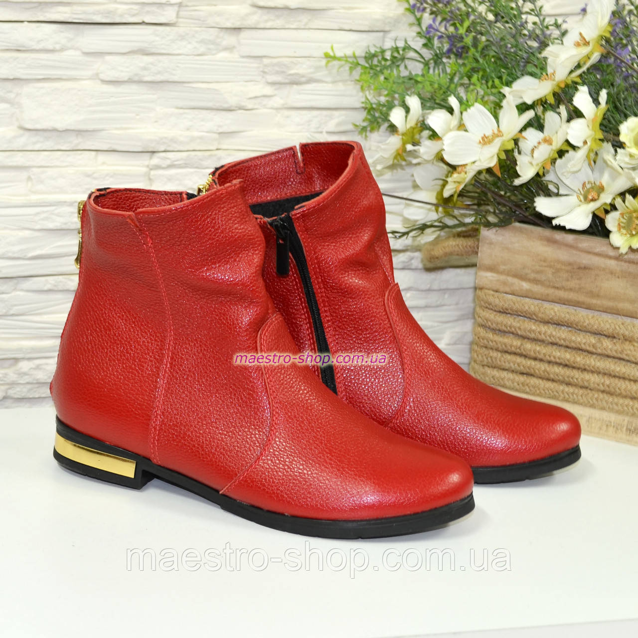 Ботинки зимние кожаные на низком ходу