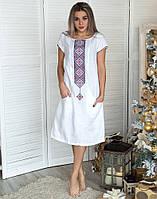 """Сукня жіноча """"Буковель"""" льон білий коротка"""