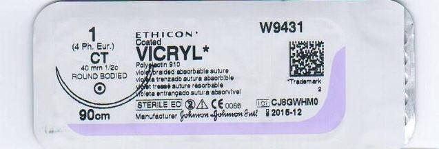 Хірургічний шовний матеріал Вікрил 1 кол. 40мм 1/2, 90 см, VCP359H, фото 2