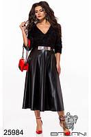 Вечернее платье чёрное с ворсом и кожей большой размер
