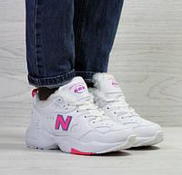 40e66081cda9 Женские кроссовки New Balance 608, зимние, белый с розовым, пресс кожа, Нью