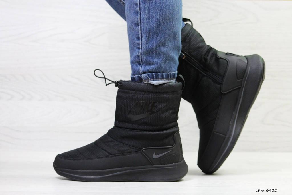 Дутики женские зимние  Nike чeрныe