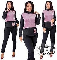 09cd31a72bb Женский брючный костюм рубашка обманка из трикотажа с люрексом и украшением  на карманчике 48