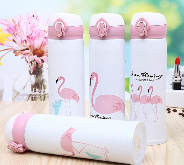 Термокружка Flamingo Фламинго двойная стенка из нержавеющей стали, 500 мл