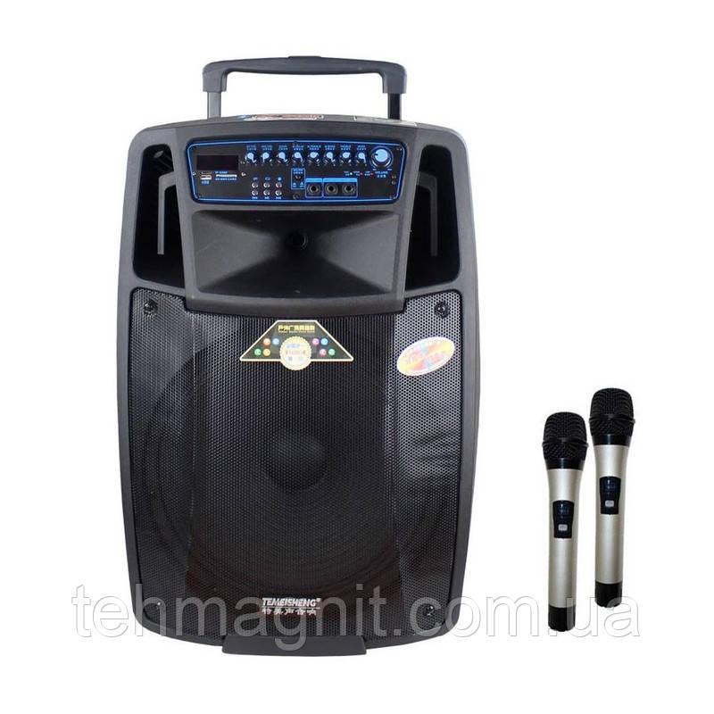 Акумуляторна колонка з мікрофонами Temeisheng SL 15-01 / 400W (USB/Bluetooth/Пульт ДУ)репліка