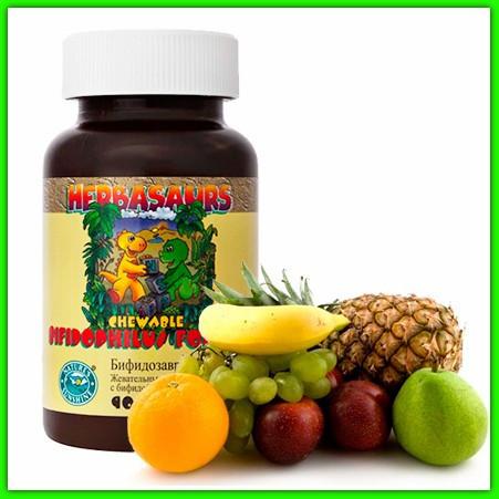 Бифидозаврики жевательные таблетки для детей бифидобактериями НСП, Nsp. Для кишечника, пищеварения, микрофлоры