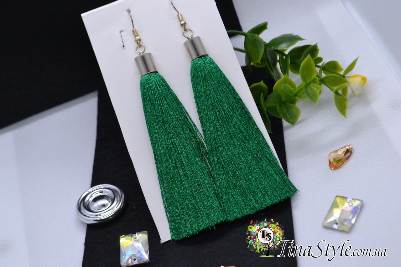Сережки сережки кисть зелений колір зелені пензлика довгі висячі вечірній кисті зелений смарагдовий колір
