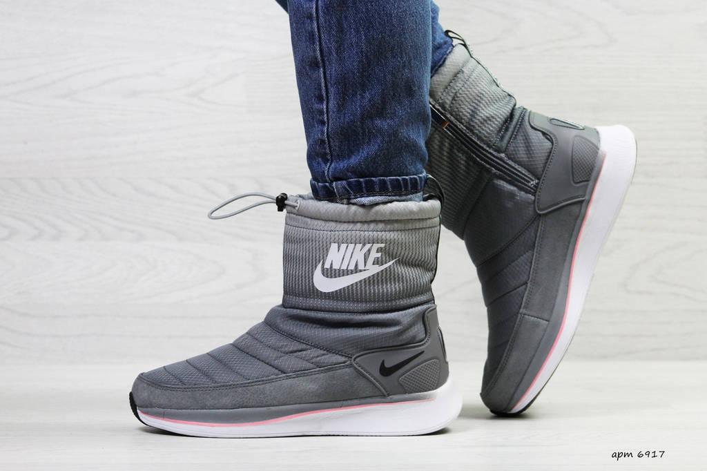 Дутики женские зимние  Nike  сeрыe
