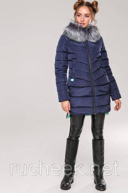 Женская зимняя куртка Лесли, р-ры 42 - 54, ТМ NUI VERY, Украина  Темно-синий