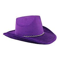 Шляпа Ковбоя велюровая фиолетовая