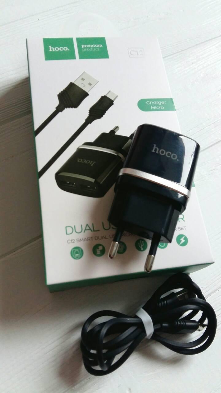 Сетевое зарядное устройство для Iphone Hoco C12 зарядка Lightning 2USB 2.4A Original Черный