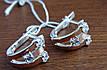 Элегантные серебряные серьги с золотой пластиной , фото 3