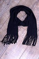 Шарф женский вязаный черный