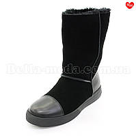 Женские замшевые сапоги кожаные вставки, фото 1