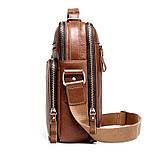 Мужская сумка через плечо Натуральня кожа Барсетка Мужская кожаная сумка для документов планшет Черная, фото 6