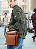 Мужская сумка через плечо Натуральня кожа Барсетка Мужская кожаная сумка для документов планшет Черная, фото 7