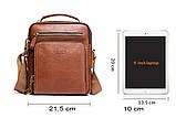 Мужская сумка через плечо Натуральня кожа Барсетка Мужская кожаная сумка для документов планшет Черная, фото 4