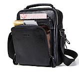 Мужская сумка через плечо Натуральня кожа Барсетка Мужская кожаная сумка для документов планшет Черная, фото 2