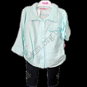 Набор детский для девочек 4-6 лет рубашка и лосины Мята. Турция